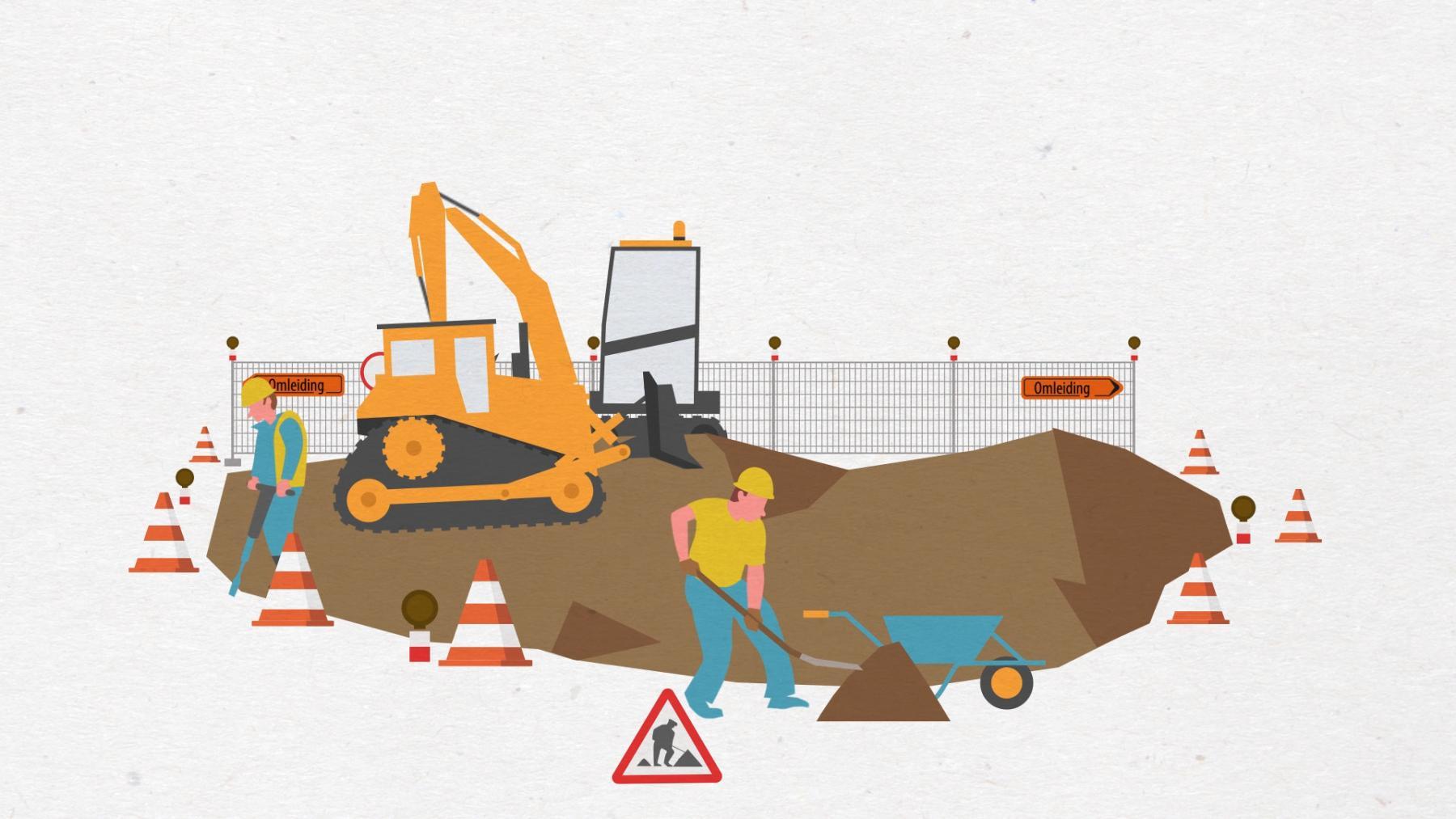 illustratie van wegenwerken met werfzone ©drift