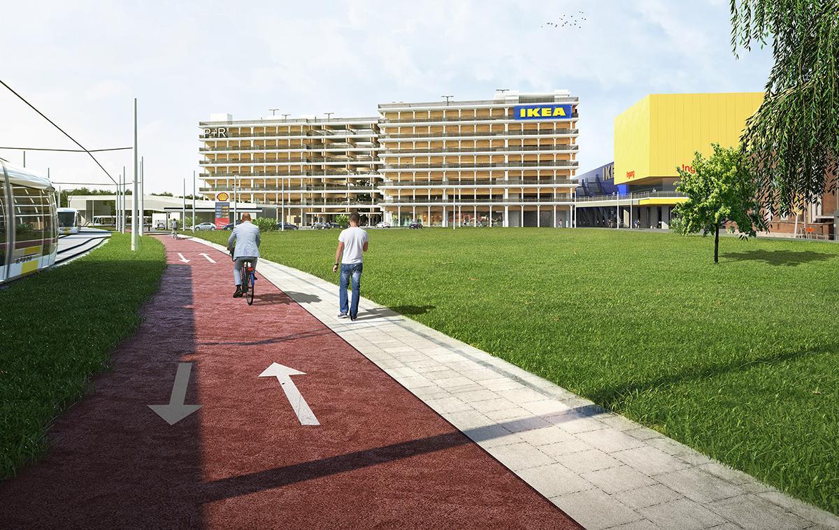 fietspad langs parkeergebouw aan Park & Ride Luchtbal op de Havana-site