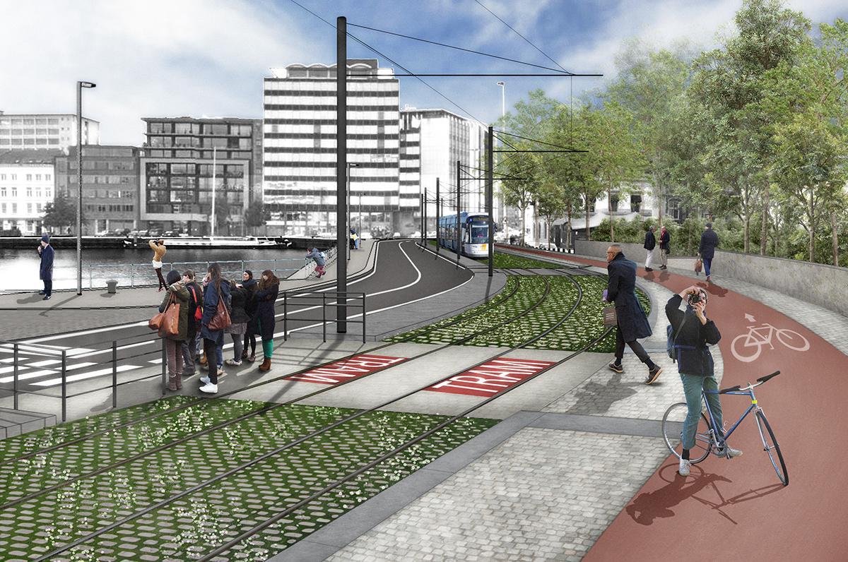 Simulatiebeeld van trambaan aan Rijnkaai