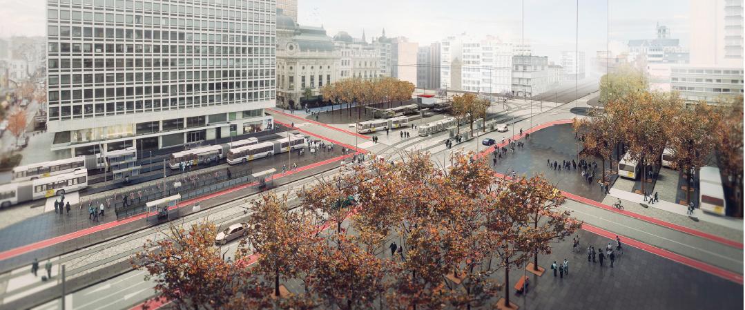 De F. Rooseveltplaats wordt volledig heraangelegd met meer ruimte voor voetgangers, fietsers en trams.