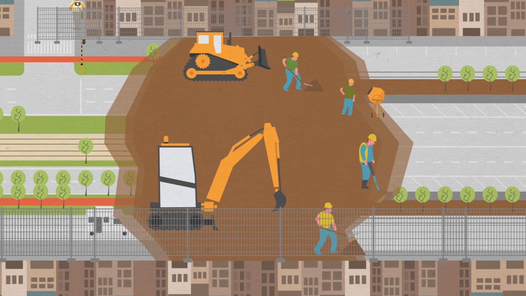illustratie wegenwerken met werkmannen en machines