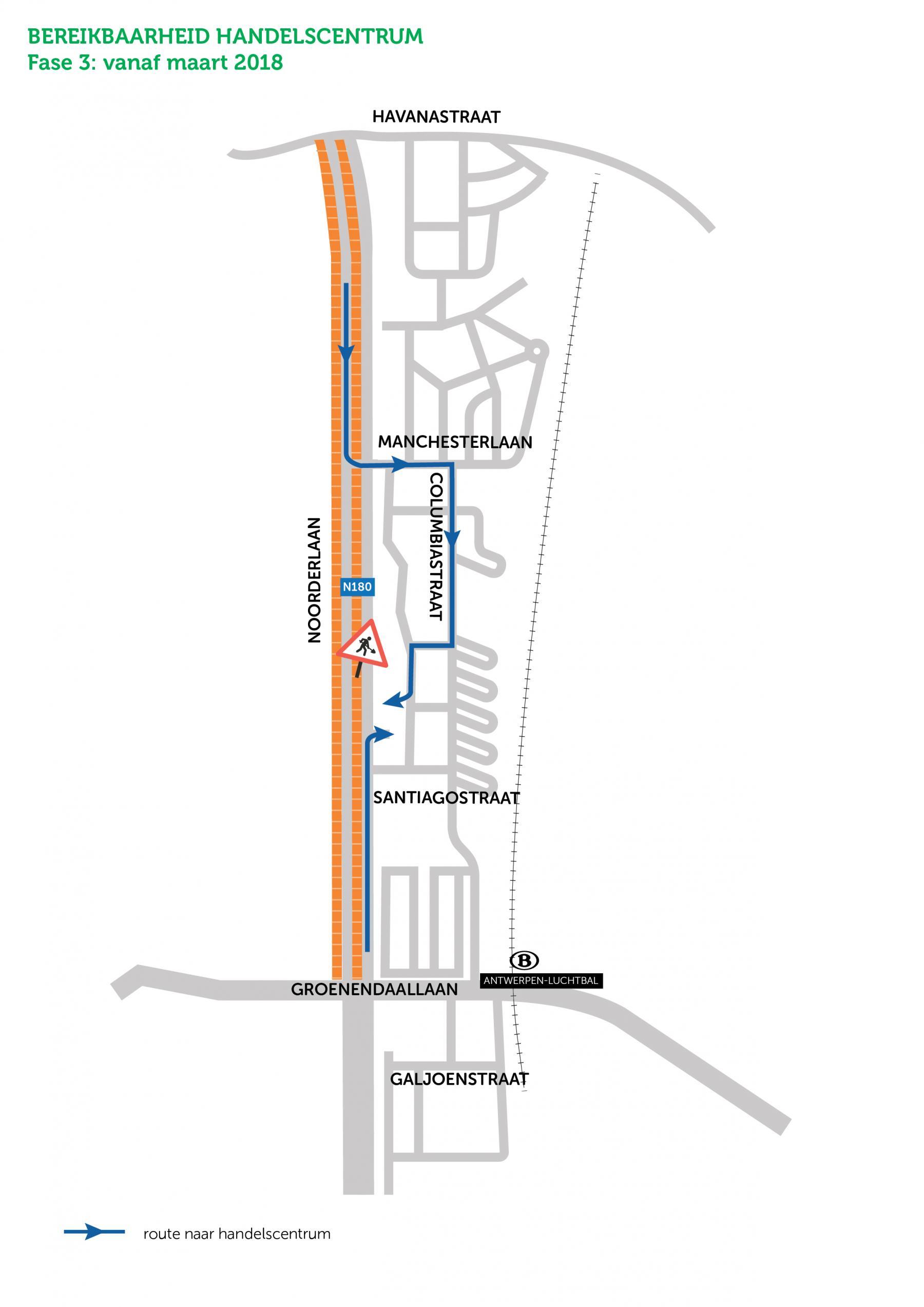 bereikbaarheidsplan handelscentrum Noorderlaan; Santiagostraat afgesloten