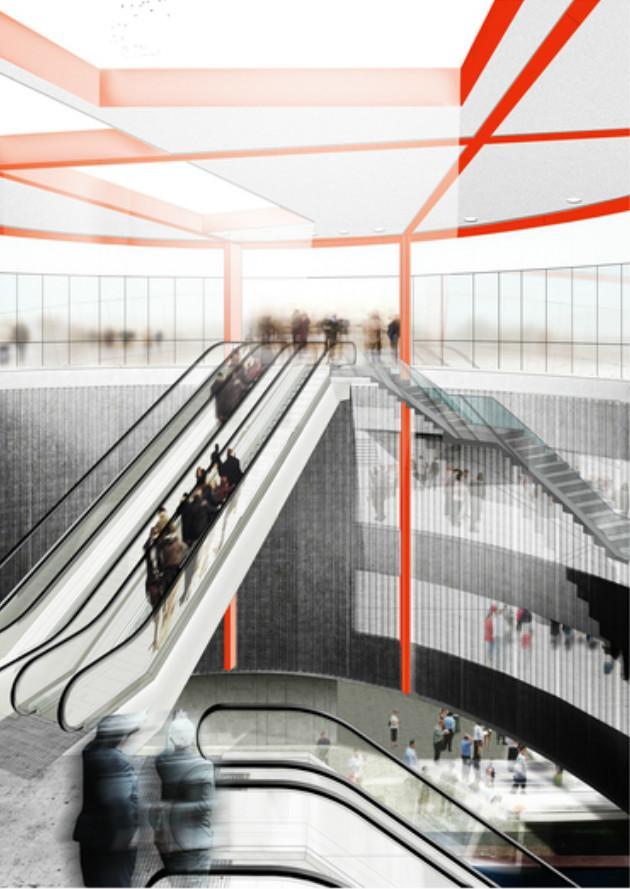 toekomstbeeld van de lichtput en premetrostation Opera