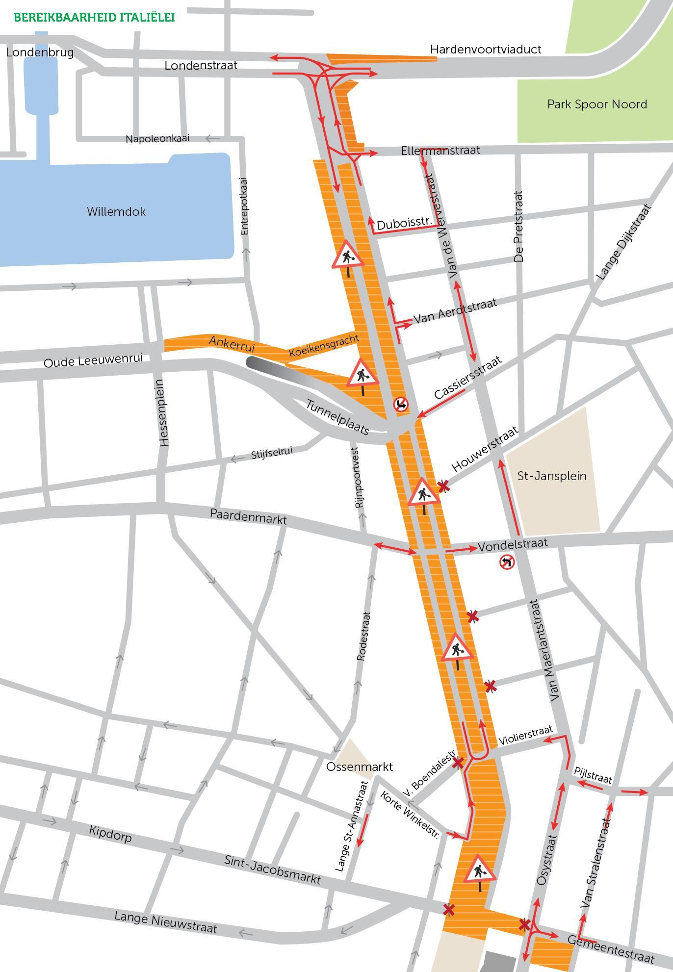 Bereikbaarheidskaart Italiëlei en omgeving voor autoverkeer