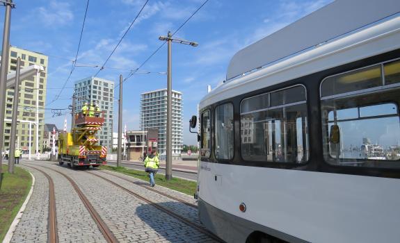 proefrit tram aan Kattendijkdok-Westkaai