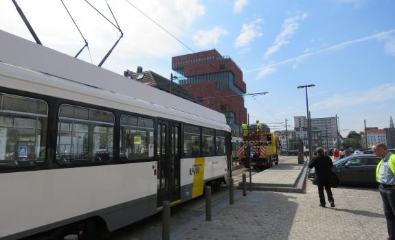 Proefrit tram 70 aan MAS