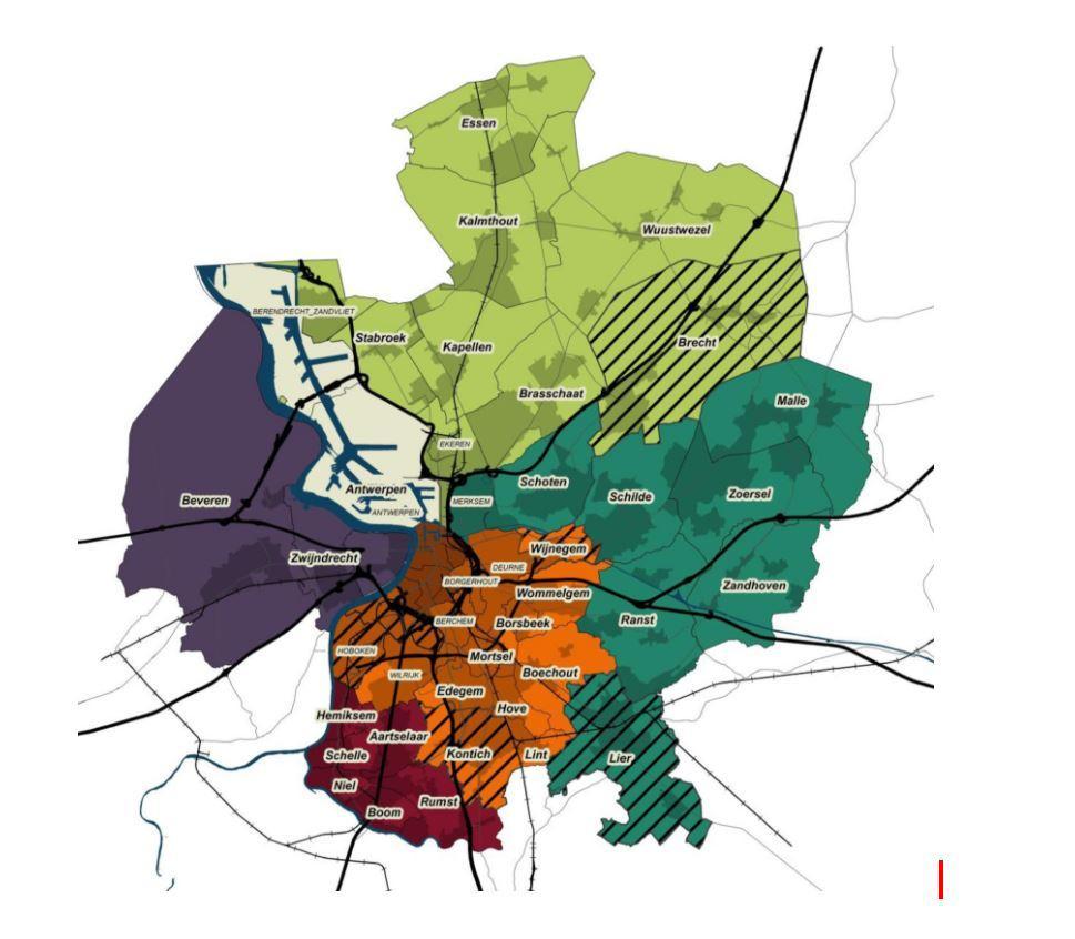 De 32 gemeenten van de Vervoerregio Antwerpen.