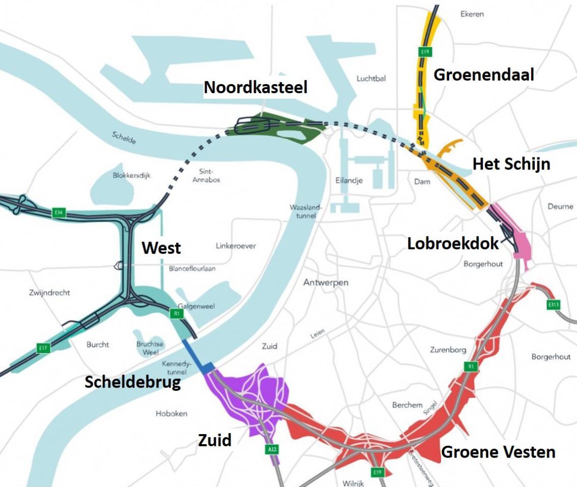 Kaart van de Ringparken en de Scheldebrug.