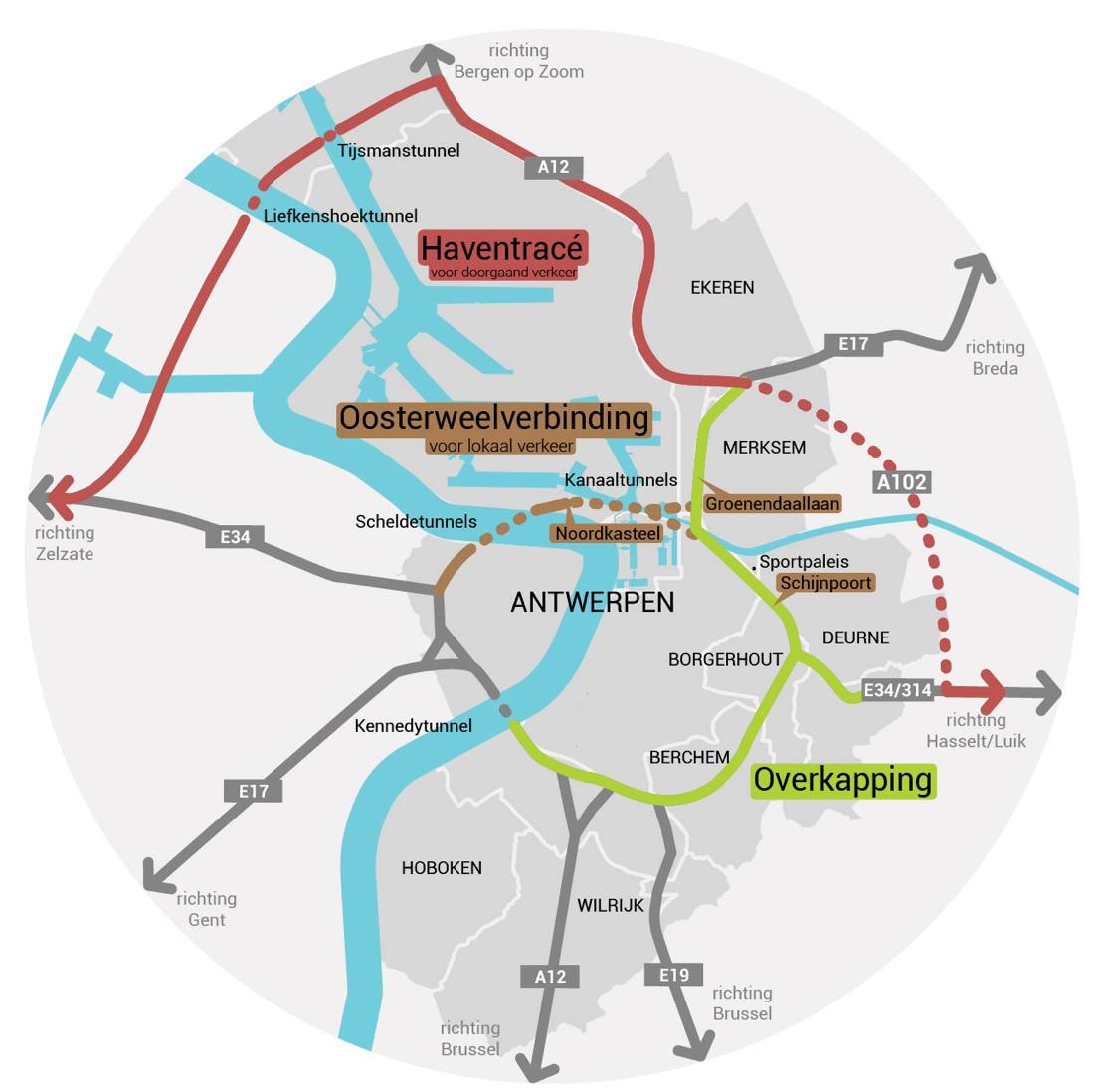 Het Toekomstverbond heeft o.m. betrekking op de Oosterweelverbinding, het Haventracé én de overkapping van de Antwerpse Ring.