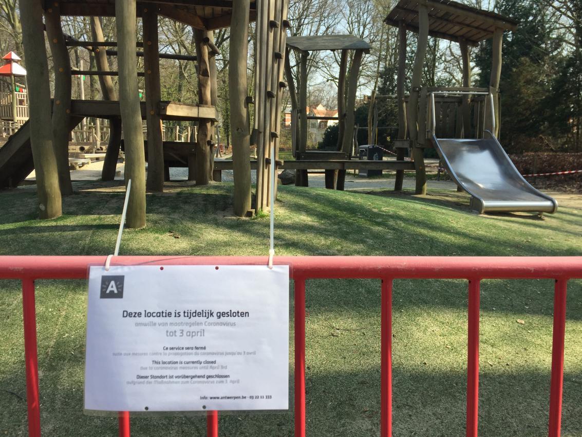 Boelaerpark tijdens de lockdown.