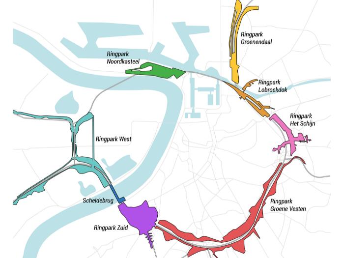 De zes Ringparken en de Scheldebrug.
