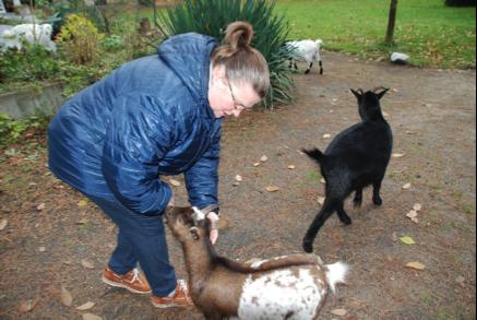 Zuster Lieve voedert de geitjes