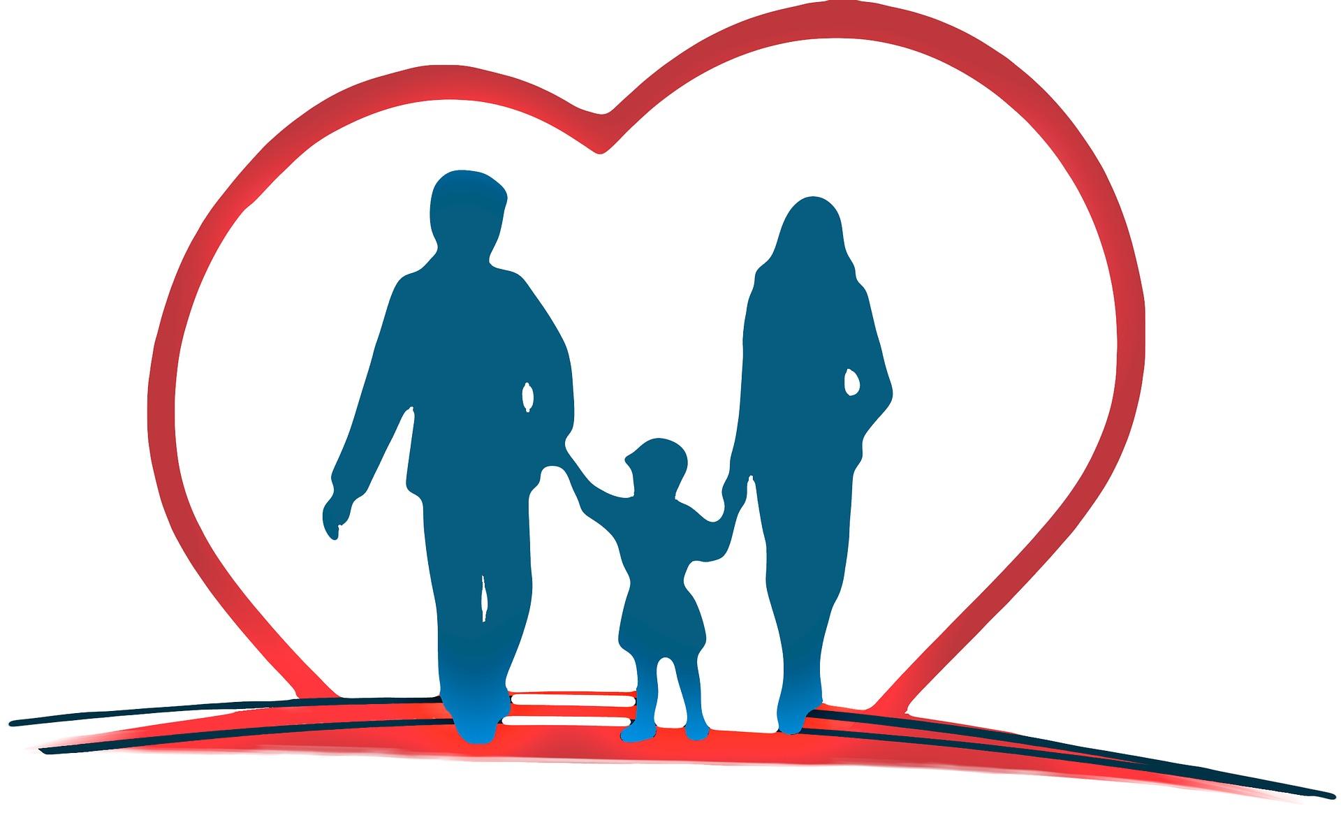 Een gezin dat hand in hand loopt met een hartje rond