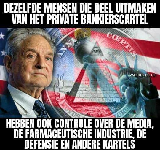 Meme die beweert dat het bankenstelsel, de media, defensie en andere industrieën allemaal in handen zijn van dezelfde elite.