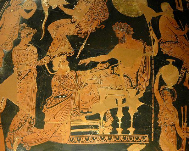 Een potschildering van de Trojaan Chryses die knielt voor Agamemnon.