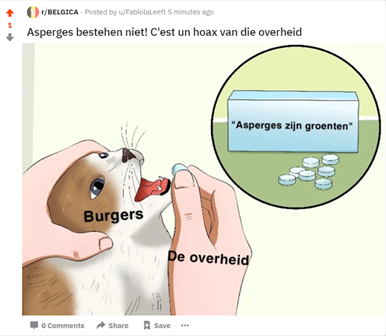 Schermafbeelding van Reddit. Een meme die beweert dat de overheid burgers wijsmaakt dat asperges echte groenten zijn.