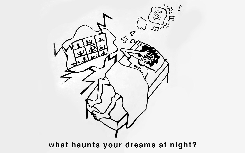 'What haunts your dreams at night?' Een redactielid van dwars ligt in bed te dromen over Skype en Zoom.