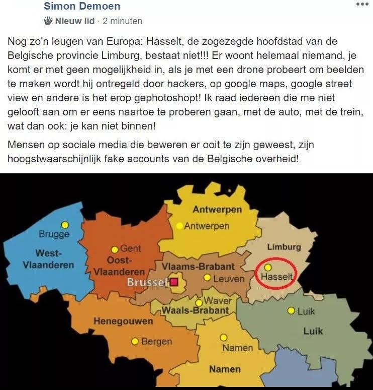 Schermafbeelding van een facebookbericht van Simon Demoen waarin hij beweert dat Hasselt niet echt is.