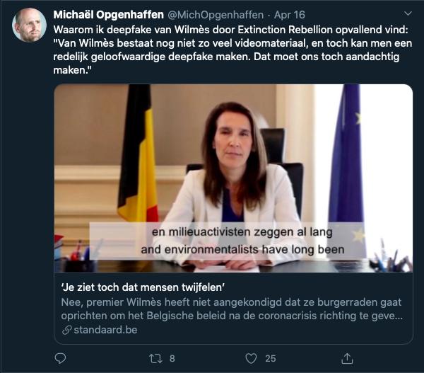 Tweet van Michaël Opgenhaffen over de deepfake van premier Wilmès.