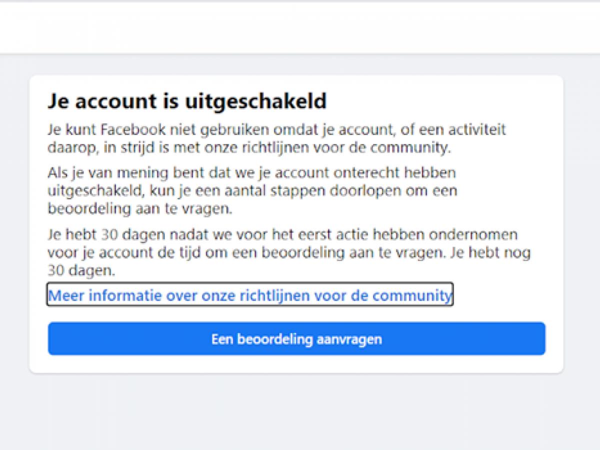 Schermafbeelding van een melding op het facebookprofiel van Guy Raf. Zijn account wordt uitgeschakeld.