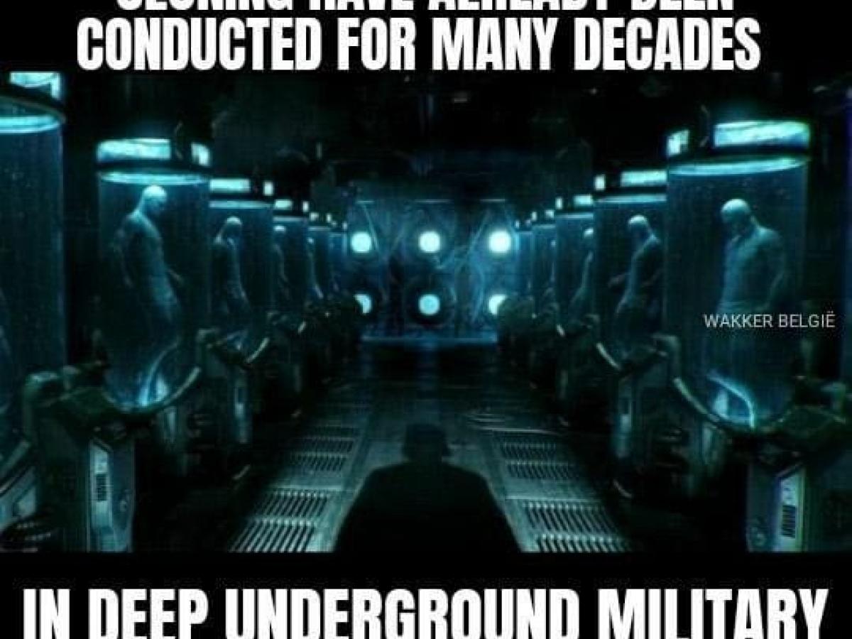 Meme die zegt dat ultrageheime experimenten rond clonen al decennialang aan de gang zijn