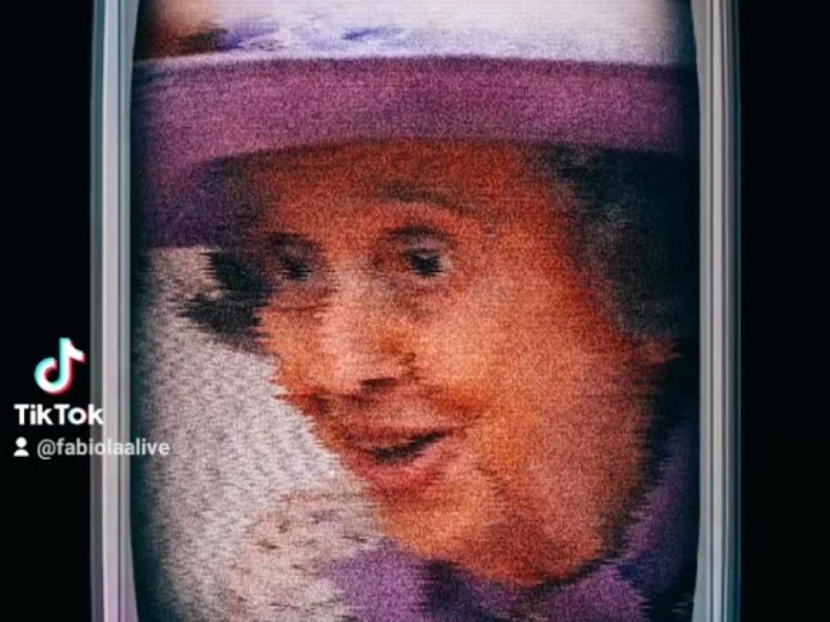 Schermafbeelding van een TikTok die beweert dat koningin Fabiola nog leeft.