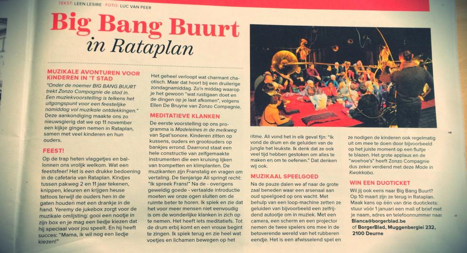 Krantenartikel over BIG BANG BUURT