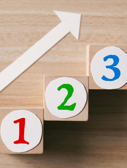 cijfers &, 2 en 3 met pijl