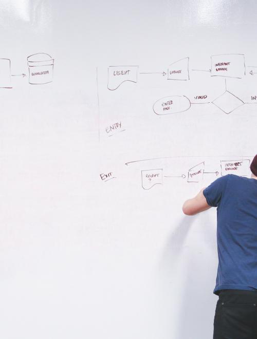 Een man schrijft een schema met beïnvloedende factoren uit