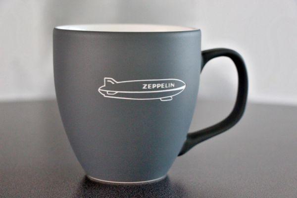 """Kaffeetasse GRAU matt Gravur """"Zeppelin"""""""