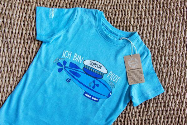 """""""Ich bin Zeppelin Pilot""""-Shirt Blau"""